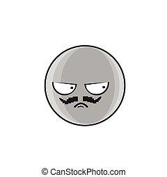 emoticon, ludzie, gniewny, twarz, wyrażenie, rysunek, emoji
