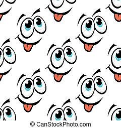 emoticon, mönster, lycklig, seamless, ansikte