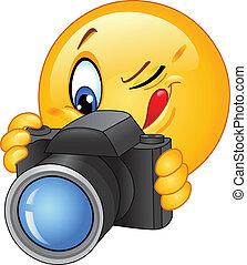 emoticon, macchina fotografica