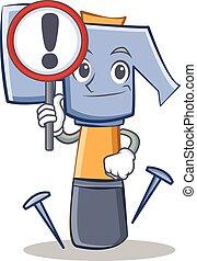 emoticon, martello, carattere, cartone animato, segno