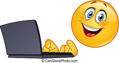 emoticon, med, dator