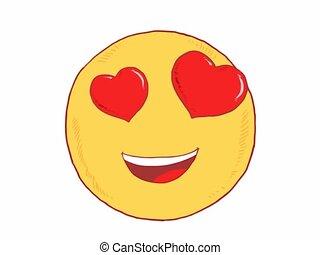 emoticon, mignon, amour, smiley, -, emoji, sentiment
