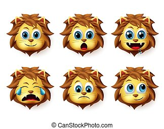 emoticon, mignon, animal, expression., set., lion, vecteur, lions, facial, emoji, heureux