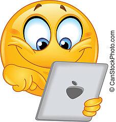 emoticon, mit, tablette