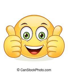 emoticon, mostrando, polegar cima