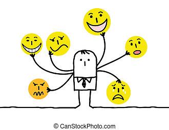 emoticon, multi, hombre, caricatura, caras
