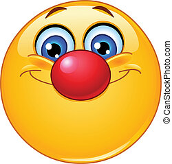 emoticon, nariz, payaso