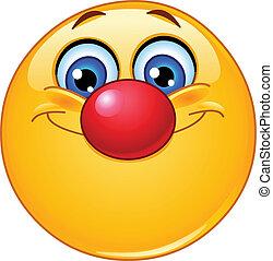 emoticon, nase, clown