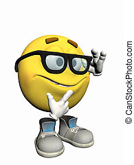 emoticon, nerd., 人