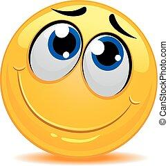 emoticon, nieśmiały, czuły, smiley