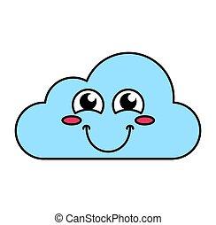 emoticon, nuvem, ruborizando, esboço, ilustração