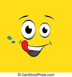 emoticon, o, yummy, cómico, smiley, hambriento, cara amarilla, fondo., vector, sabroso, icon., style., libro, emoji
