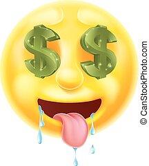 emoticon, ojos, señal, dólar, emoji