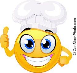 emoticon, ok, smiley, sinal, cozinheiro, mão, chapéu