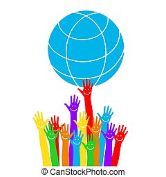 Emoticon on the palm. Hands with earth, people of the world holding the globe, flat vector sticker, poster, etc