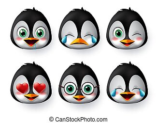 Emoticon or emojis penguin face vector set. Penguins emoji animal faces with in love, crying, laughing, cute and hungry facial expressions.