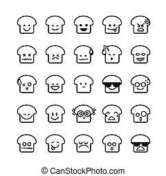 emoticon, pão, cobrança, 001, fundo, branca, diferença, ícone