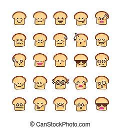 emoticon, pão, cobrança, fundo, branca, diferença, ícone