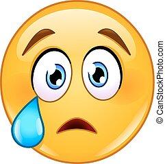 emoticon, płacz, twarz
