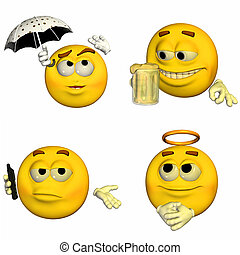 Emoticon Pack - 8of9 - Illustration of a pack of four (4)...