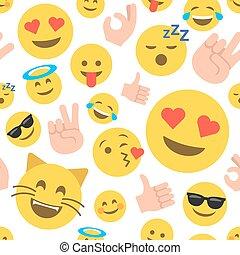 emoticon, patrón, resumen, seamless