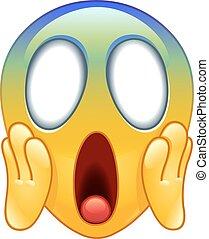 emoticon, peur, crier, figure