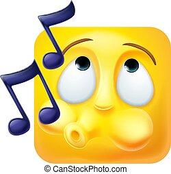 emoticon, pictogram, karakter, gefluit, emoji, spotprent, 3d