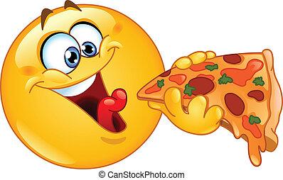 emoticon, pizza mangeant