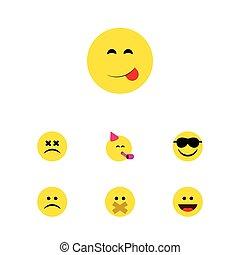 emoticon, plano, conjunto, triste, elements., delicioso, ceño, alimento, incluye, también, vector, silencio, delicioso, objects., cara, otro, icono