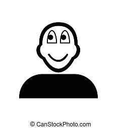 emoticon, plat, pensée, figure, noir, icône