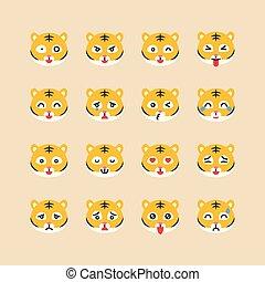 emoticon, plat, stijl, set, illustratie, tiger, vector