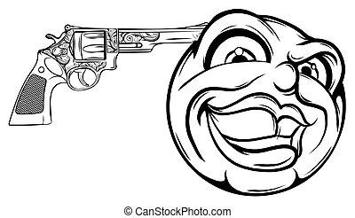 Emoticon pointing a gun on his head vector