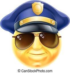 emoticon, polícia, emoji