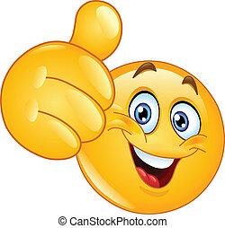 emoticon, polegar cima