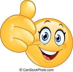 emoticon, polegar, femininas, cima