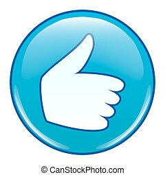 emoticon, pouce, aimer, haut, vector., icône, emoji