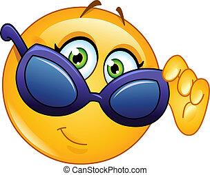 emoticon, rüber schauen, sonnenbrille