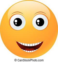 emoticon, redondo, amarela