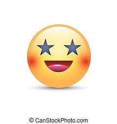 emoticon, reizend, augenpaar, form, stars., smiley, gelbes gesicht, anwendung, vektor, lachender, unterhaltung, spaß, glücklich, smile., karikatur, emoji