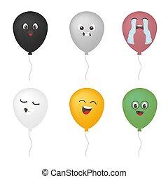 emoticon, rigolote, ensemble, ballon, couleur, pharmaceutical., gris, vecteur, figure, concept, caractères, blanc, noir