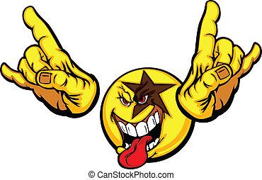 emoticon, rockstar, cartone animato, faccia