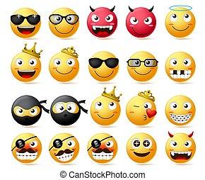 emoticon, roi, smiley, porter, set., reine, couronne, type caractère jaune, vecteur, emoji