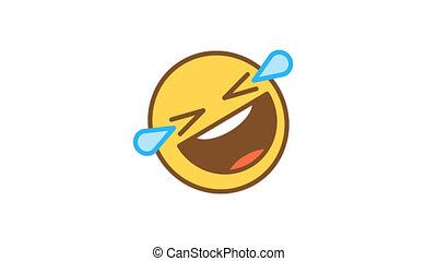 Emoticon rolls on floor with laughter and tears of joy. Animated Emoticons. Alpha channel