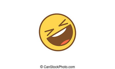 Emoticon rolls on floor with laughter. Animated Emoticons. Alpha channel