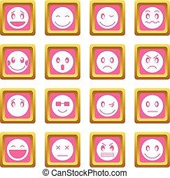 emoticon, rosa, icone