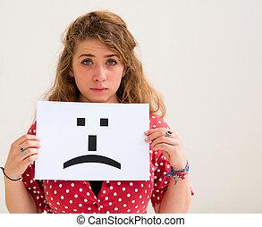 emoticon, rosto mulher, jovem, triste, tábua, retrato, sinal