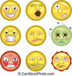 emoticon, sätta, smileys, illustration