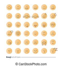 Emoticon, SÍMBOLOS, apartamento, expressão, ícones, rosto, desenho,  minimalistic, sinais,  emoji
