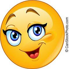 emoticon, samica, szczęśliwy