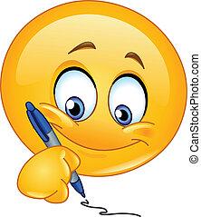 emoticon, schrijvende